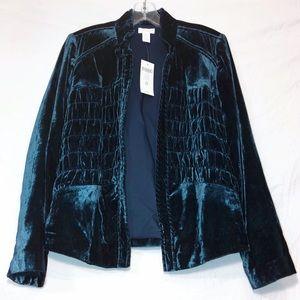 Chico's NWT Velvet Dark Teal Open Front Jacket